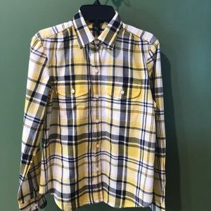 Ralph Lauren Yellow/Navy Check Blouse NWOT